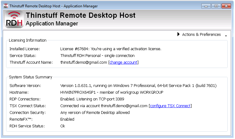 Remote Desktop Host - Thinstuff